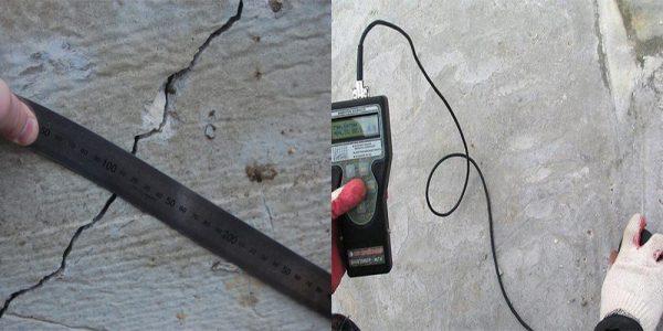Измерение трещин фундамента