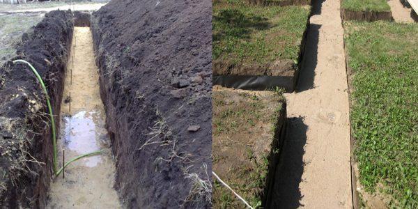отсыпка траншеи песком