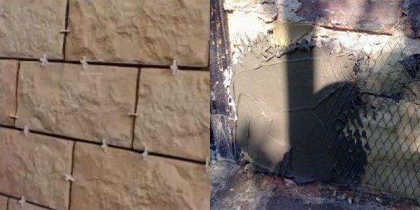 Процесс облицовки декоративным камнем
