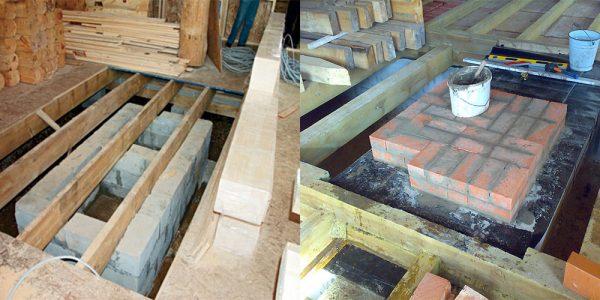 Монтаж фундамента для камина