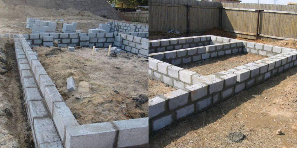 Фундамент своими руками под керамзитобетонные блоки 70