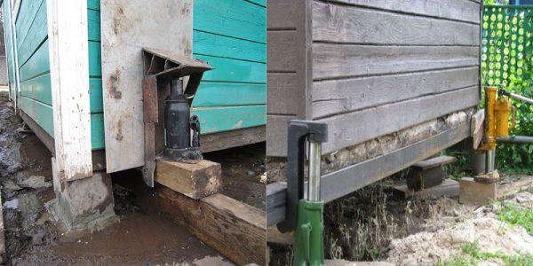 Подъем дома домкратом для замены фундамента