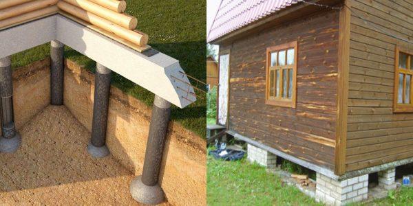 Установка столбчатого фундамента деревянного дома: схема и реализация