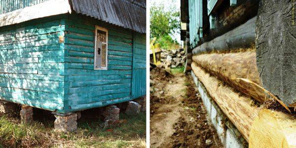 Фундамент под деревянным домом, который требует комплексного ремонта или полной замены