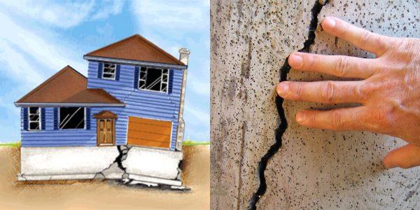 Признаки разрушения фундамента здания: смещения и трещины