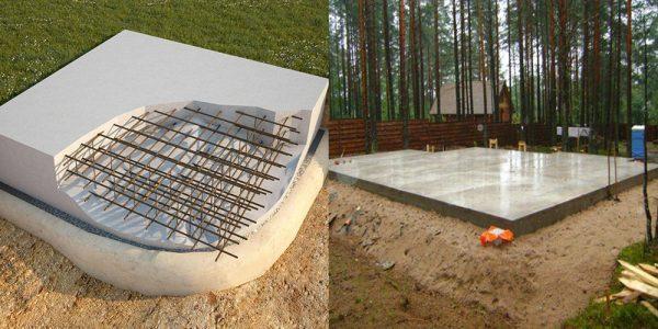 Плитный фундамент образует монолитную платформу