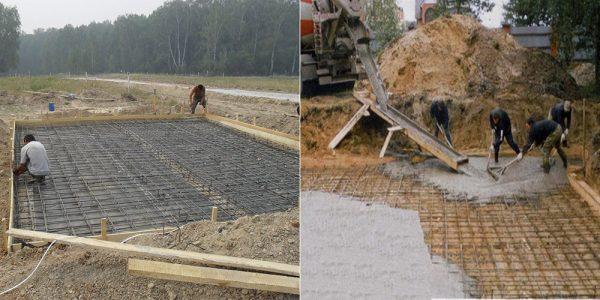 Заливка плитного фундамента и монтирование гидроизолирующего слоя