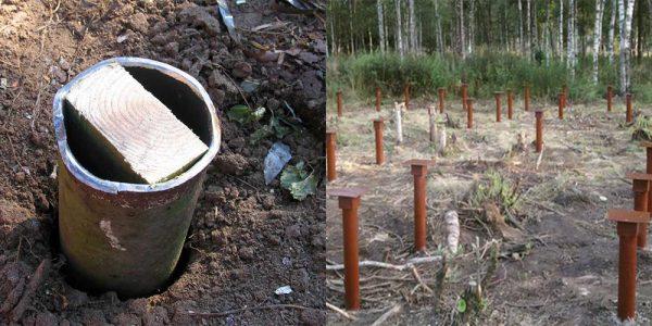 Фундамент из металлических труб