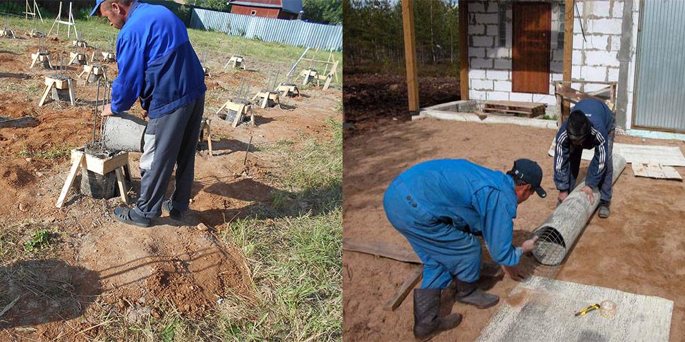 сваи заливают бетоном