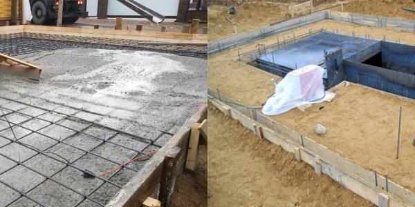 Ленточный и плитный фундамент для гаража