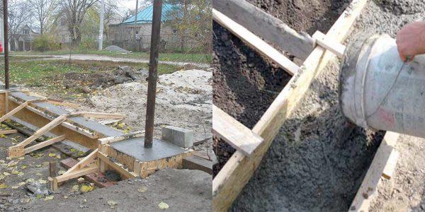 Заливаем бетон в опалубку