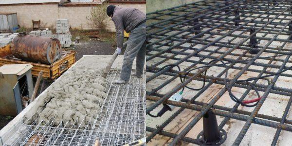 Заливка монолитной плиты перекрытия