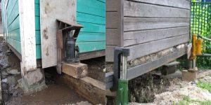 Замена фундамента под деревянным домом на винтовые сваи