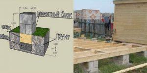 Столбчатый фундамент из бетонных блоков 20х20х40 см