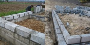 Строим фундамент для бани из блоков